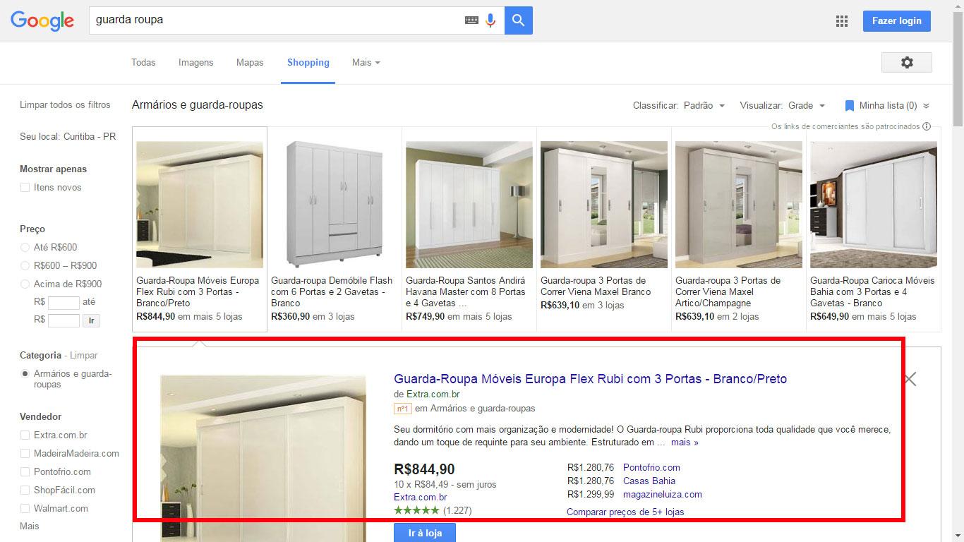 Página descrição - Google Shopping