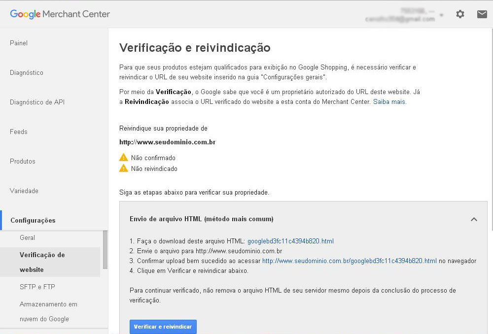 Google Merchant Center - confirmar e reivindicar
