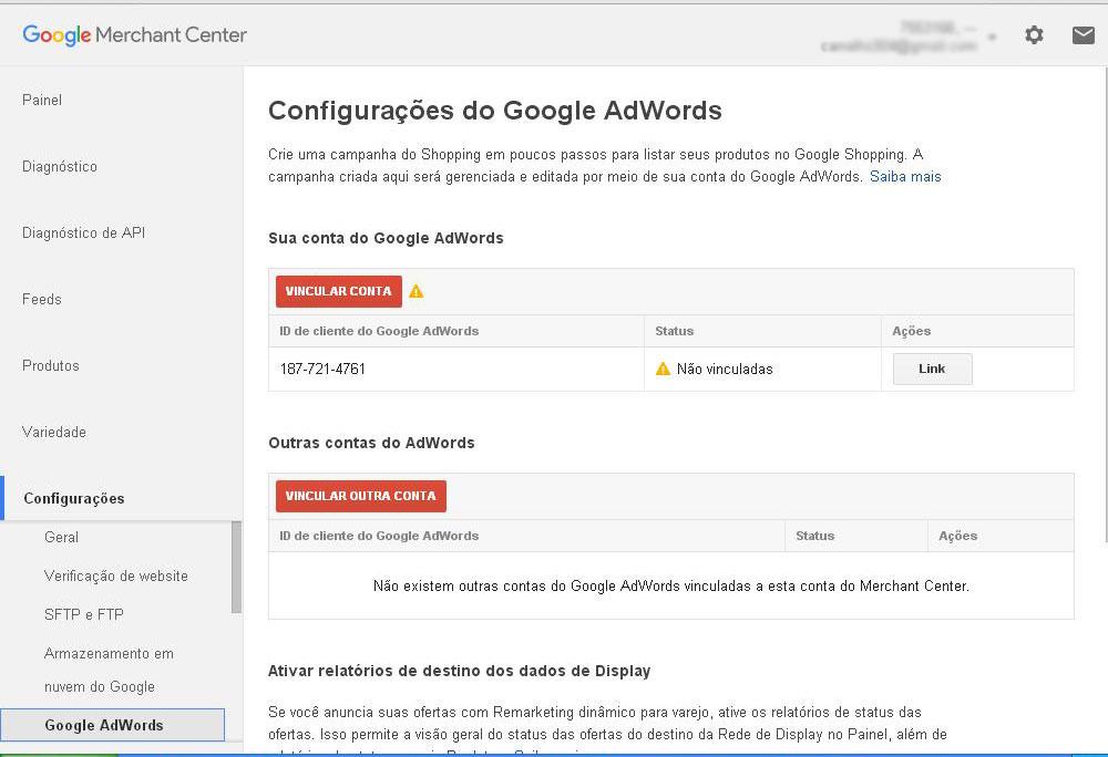 Google Merchant Center - vinculação com o Google Adwords
