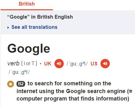 google-no-dicionario