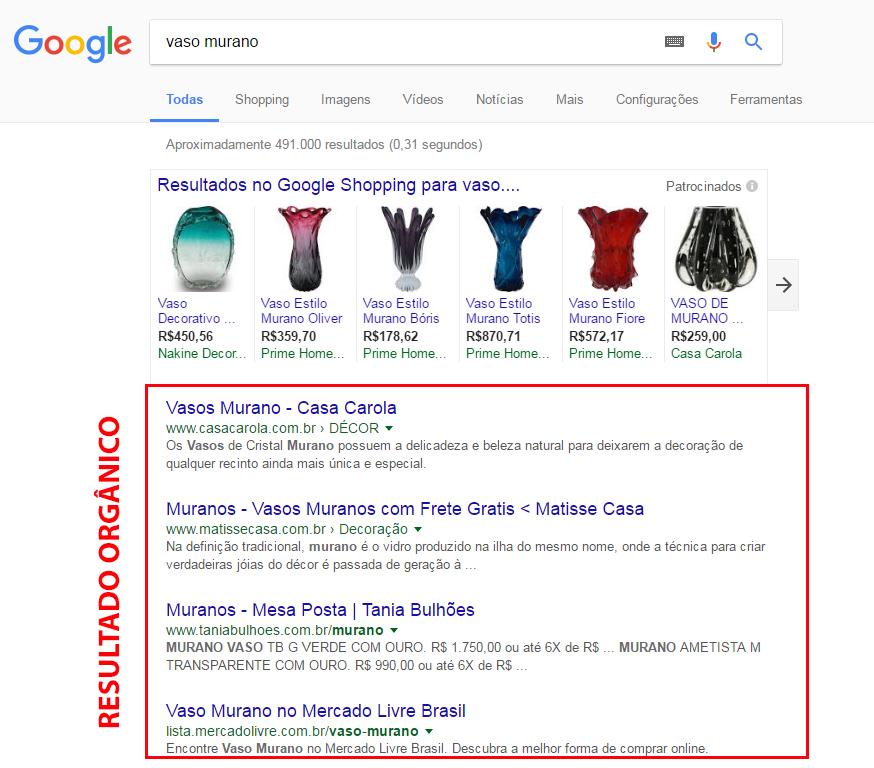 Exemplo de resultado orgânico do Google