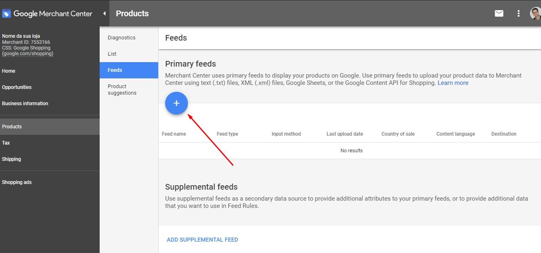 Feed de produtos Google Merchant Center