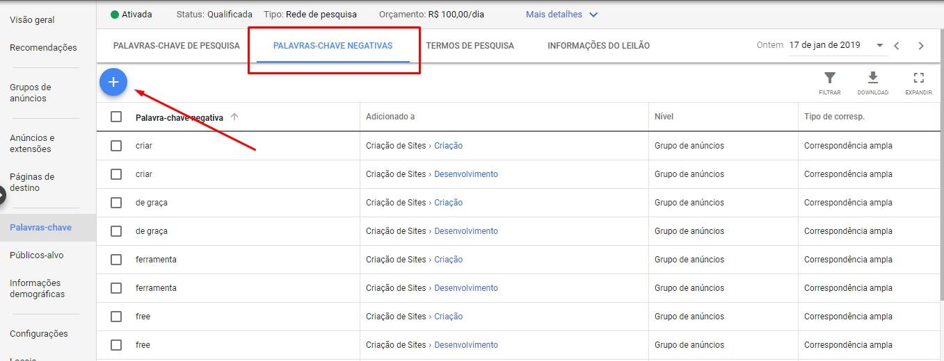 Palavra-chave negativa - Google Ads